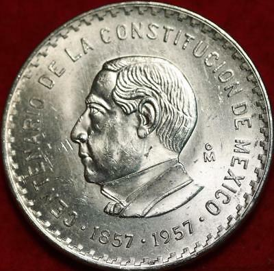 Uncirculated 1957 Mexico 10 Pesos Silver Foreign Coin Free S/H!