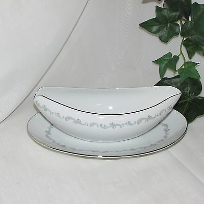 SANGO ARABESQUE GRAVY BOAT & UNDERPLATE or RELISH DISH VINTAGE REPLACEMENT CHINA