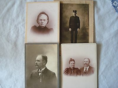 Lot of 4 Antique Original Photo Portraits from the early 1900's