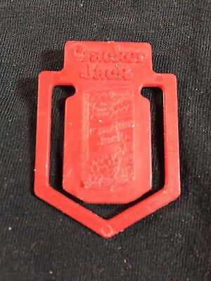 Vintage CRACKER JACKS Plastic Red Bookmark or Paprclip Prize - Box Picture