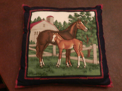 "Horse Pillow Mare & Foal Quilted 14"" Square"