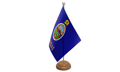 Kansas USA American Table Flag with Wooden Stand