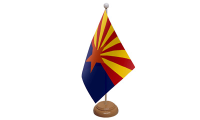 Arizona USA American Table Flag with Wooden Stand