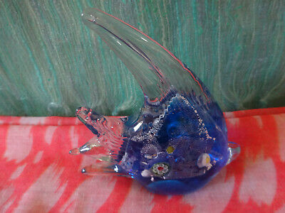 Blue Tropical Angel Fish Shaped Glass Paperweight