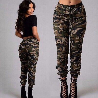 Womens Military Look Comfortable Camouflage Cargo Jogger Pants Cool Trousers