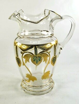 Antique Handblown Enameled Glass Water Mojito Pitcher, Gold Trim, Art Nouveau