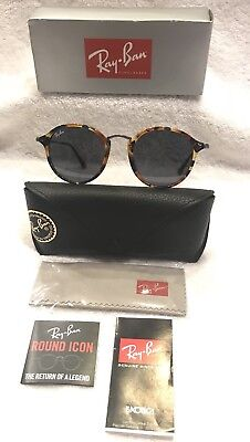 NEW Ray Ban RB2447 1158R5 49mm Round Fleck Brown Tortoise & Gunmetal/Blue Gray