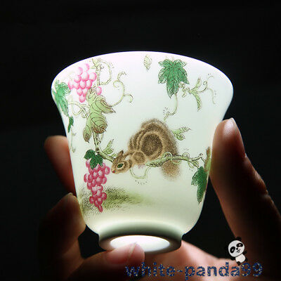 Marked old chinese  qing dyn enamel porcelain tea cup:squirrel Grape