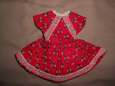 Vintage Ideal Betsy McCall Revlon Toni Shirley Temple Doll Red Print Lace Dress