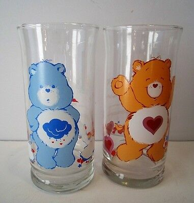 "2 Vintage Collectible ""care Bear"" Drinking Glasses....pizza Hut  Series"