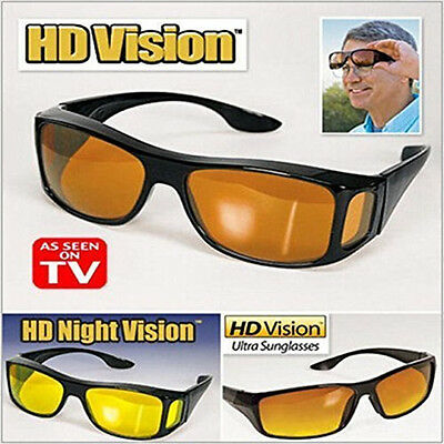 The Real Wrap Arounds Fit Over Night Optic Vision Driving Anti Glare HD Glasses