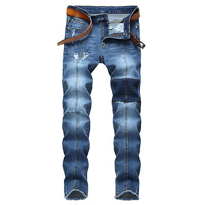 Fashion Mens Skinny Ripped Biker Jeans Deep Blue Slim Fit Destroyed Denim Pants
