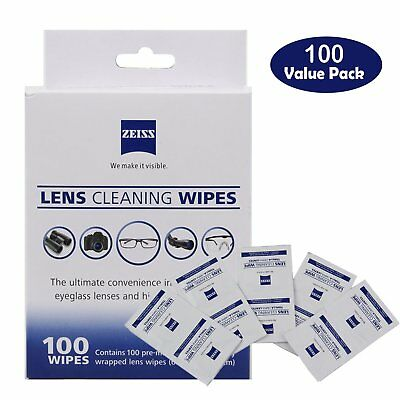 100 Zeiss Pre-Moistened Lens LCD LED Screen Optical Camera Cleaning Cloth Wipes