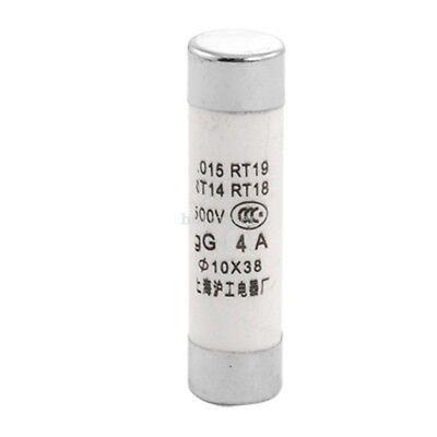 20 Pcs R015 500V 4 Amp Cylindrical Cap Fuse Links 10mm  x 38mm White Silver Tone