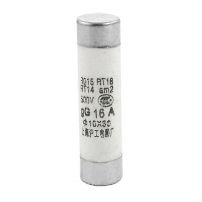 20 Pcs 500V 16A Ceramic Tube Cylindrical Fuse Links 10 x 38mm White, Silver Tone