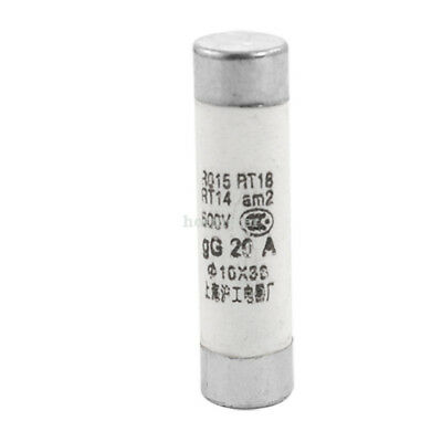 20Pcs 500 V 20A Ceramic Tube Cylindrical Fuse Links 10 x 38mm White, Silver Tone