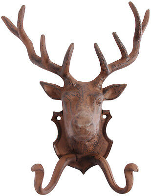 Cast Iron Stags Head Coat Hook - Deer Metal Wall Plaque Clothes Gift 2 Hooks New