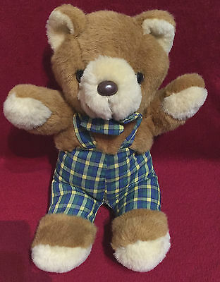 """1994 ACE SOFT TOYS BROWN TEDDY BEAR DUNGAREES 12"""" vintage"""