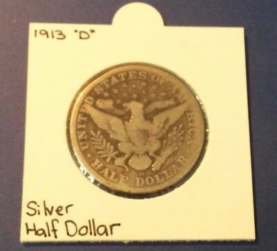 United States, 1913-D Half Dollar, Barber (Silver) - Worn Condition