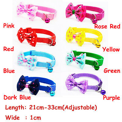 Nice Bell Neck Chain Nylon Fabric Pet Collar Dog Strap Buckle Polka Bow