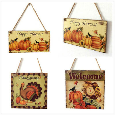Happy Harvest Sign Hanging Plaque Thanksgiving Party Hanger Wall Decorations VNC