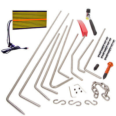 PDR Tools Paintless Dent Repair Removal Hail LED Line Board Tap Hammer+Rods Kit