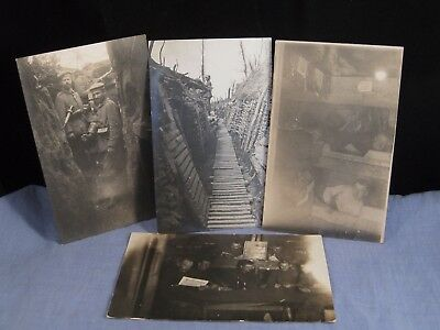 OLD WW1 WORLD WAR 1 POSTCARD GERMAN ARMY MILITARY TRENCHES x4 UNIFORM PHOTOGRAPH