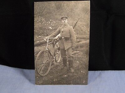 Old Ww1 World War 1 Postcard German Army Military Bicycle Uniform Photograph