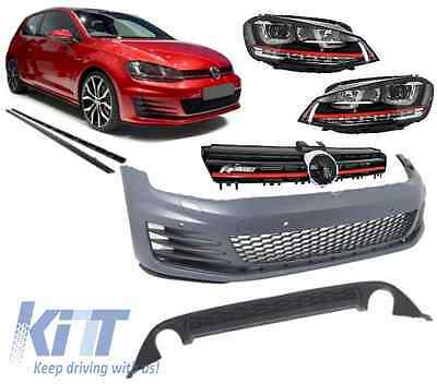 Complete Body Kit VW Golf 7 VII 12-17 GTI Look+Front Grille+Headlights LED DRL