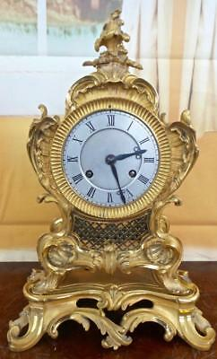 """Antique French 1827 gilt ormolu bronze Roccoco mantle clock on base by """"Pons"""""""