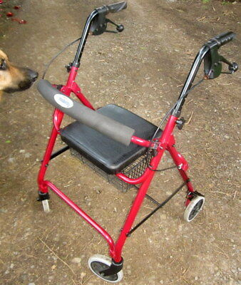 2nd hand MYMOBILITY invalids walking frame - brakes , 4 wheels , collapsable , b