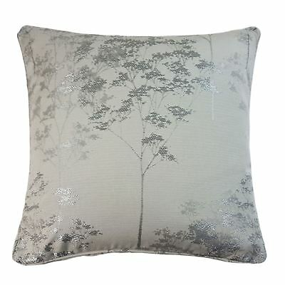 """Jacquard Trees Silver Grey Piped 17"""" - 43Cm Cushion Cover"""