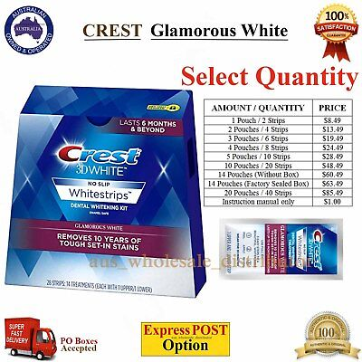 CREST 3D Luxe Glamorous White Tooth Whitestrips Teeth Whitening Pouches Strips