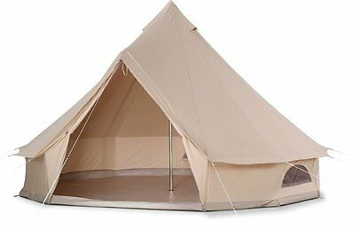 5m Canvas Bell Tent Heavy Duty Outdoor Luxury Sibley Tent for Family