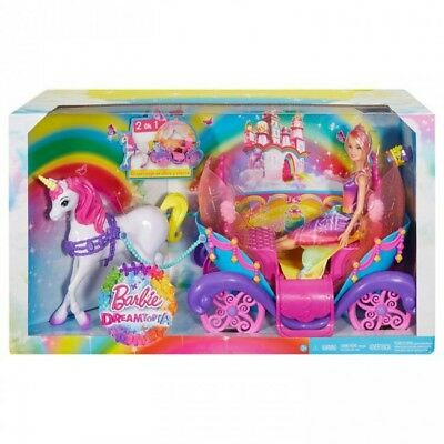 Barbie Dreamtopia Rainbow Cove Princess Doll Horse & Carriage Brand New FastPost