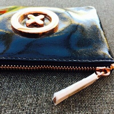 Mimco Small Pouch Wallet Black Rose Gold Patent Leather BNWT • Express Delivery