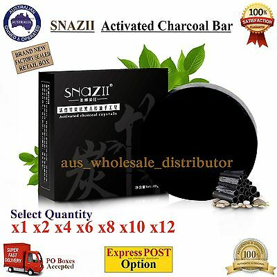 SNAZII Activated Charcoal Bamboo Black Natural Blackhead Acne Remover Bar Soap