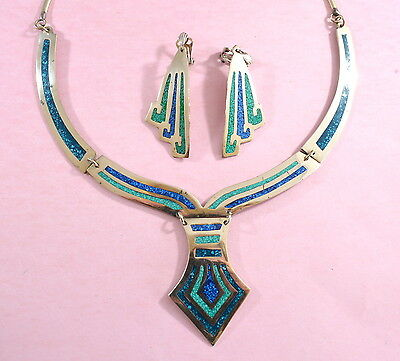 Vintage stunning Mexican Alpaca silver necklace & earrings with turquoise inlays