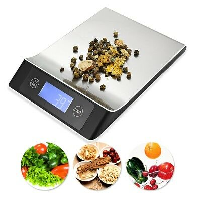 Silver Digital Kitchen Scale 15KG Capacity+Back-lit LCD for Food Weighing Baking
