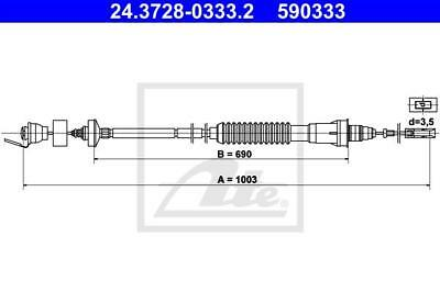 Clutch Cable ATE 24.3728-0333.2 for Citroen Peugeot