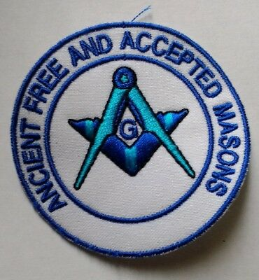 Embroidered Patch/badge ~ Freemasons ~ Ancient Free And Accepted Masons ~ 6.5 Cm
