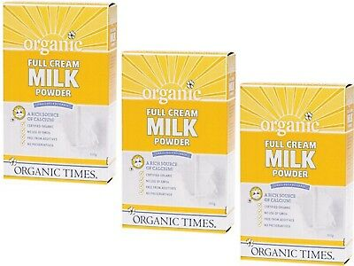 3 x 300g ORGANIC TIMES Full Cream Milk Powder - 900g
