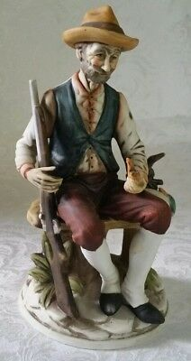 Vintage Germany Bisque Porcelain Hanting Old Man w/Firearm and Duck Figurine