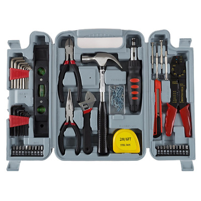 Household Hand Tools, 130 Piece Tool Set by Stalwart, Set Includes – Hammer, Wre