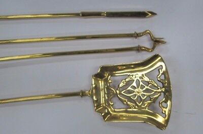 Set Of Heavy Brass Vintage Fire Irons On Matching Stands