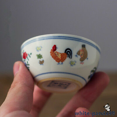 Marked chinese Jingdezhen porcelain rooster cup chicken cup tea cup