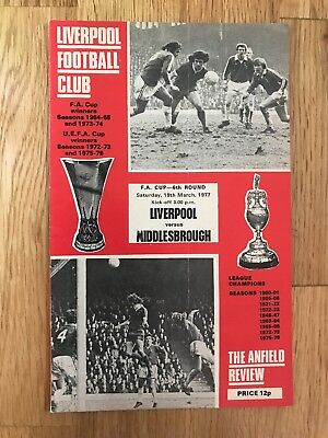 Liverpool V Middlesbrough Programme 19th March 1977