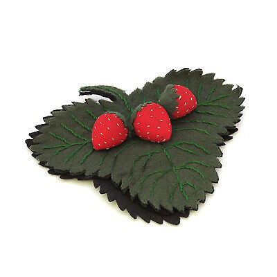 Antique Felt Pen Wipe Strawberry Embroidered Primitive Folk Art ~ AAFA