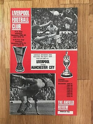 Liverpool V Man City Programme 9th April 1977