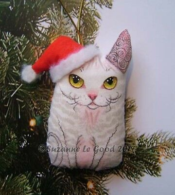 Devon Rex Cat painting Christmas Decoration padded fabric by Suzanne Le Good